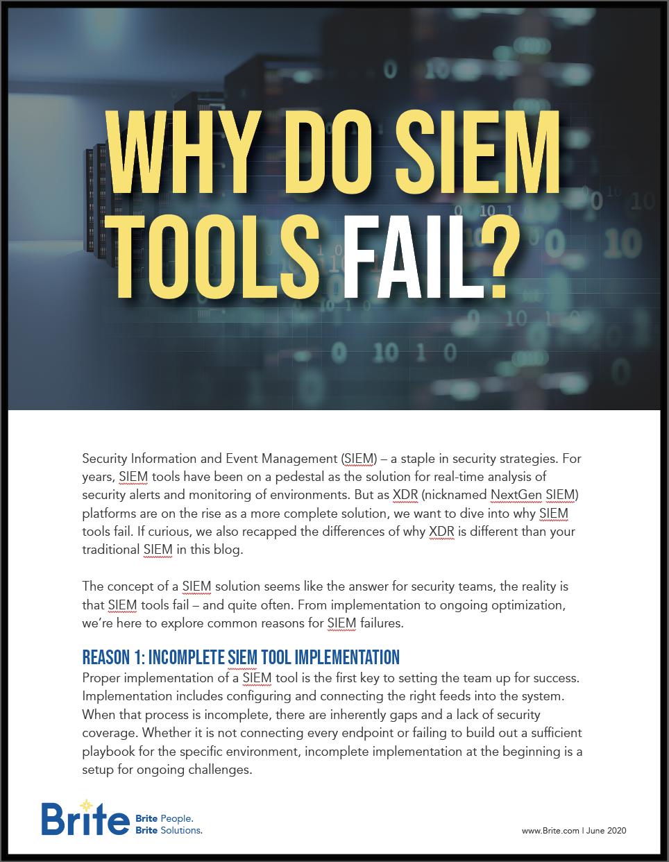 Why do SIEM Tools Fail cover